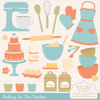 In The Kitchen Baking Clipart & Vectors in Vintage - Bakin