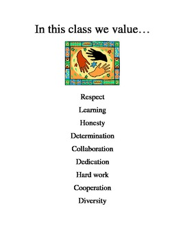 In This Class We Value... Sign