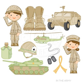 In the Army Cute Digital Clipart, Military Clip Art