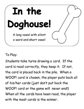 In the Doghouse: A short vs long vowel game  Printer Frien