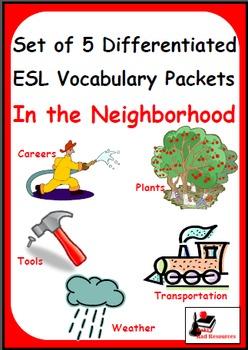 In the Neighborhood - Set of 5 Differentiated ESL Vocabula