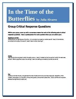 In the Time of the Butterflies - Alvarez - Group Critical