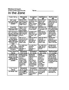 In the Zone Marking Sheet