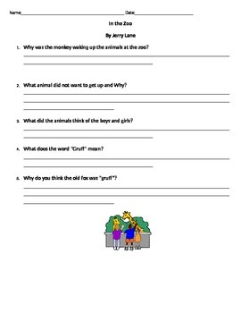 In the Zoo by Jerry Lane comprehension Questions