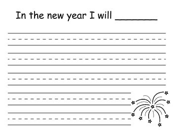 In the new year I will... writing activity