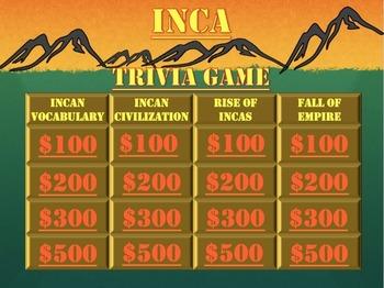 Inca, Francisco Pizarro, Conquistadors, Vocab: Fun Trivia Game!