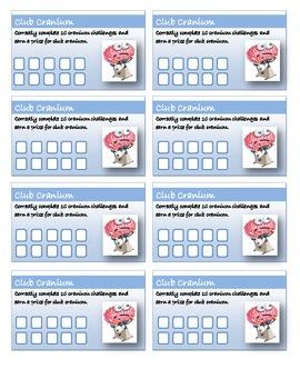 Incentive Punch Cards - Club Cranium