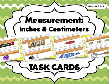 Measurement Task Cards: Inch, 1/2 Inch, & Centimeter (Corr