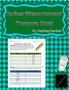 Inches Measurement Treasure Hunt Worksheet Activity