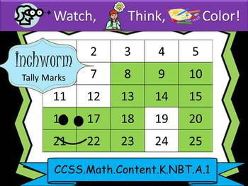 Inchworm Tally Marks - Beginning Watch, Think, Color! CCSS