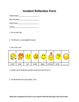Incident Reflection Form