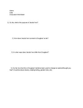 Incidents in the Life of a Slave Girl Discussion Packet