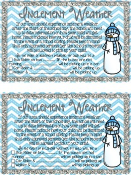 Inclement Weather Note Freebie