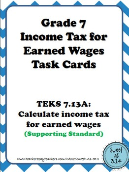 Income Tax for Earned Wages Task Cards