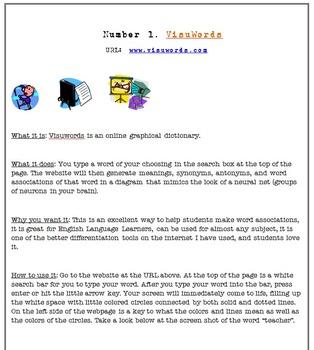 Incorporating Technology with Visuwords: Vocabulary Ideas