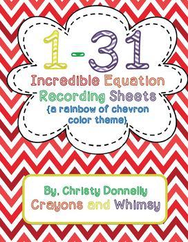 Incredible Equation Recording Sheets {Rainbow Chevron}