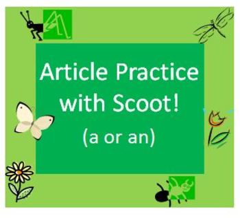 Indefinite Article Practice with Scoot Game for Spring Gra