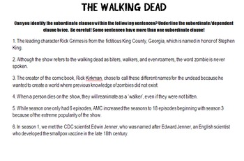 Indentifying Subordinate Clauses with Zombies Facts from