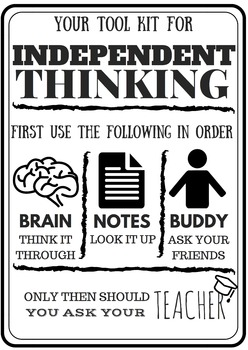 Indepedent Thinking Poster/Anchor Chart