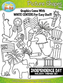 Independence Day Holiday Picture Shapes Clipart Set — Incl