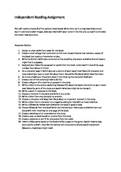 Independent Reading Assignment Ideas