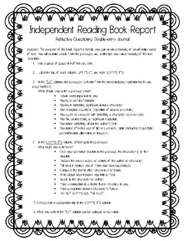 Independent Reading Book - Double Entry Journal
