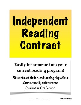 Independent Reading Contract for Secondary; Independent Bo