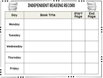 Independent Reading Log Freebie