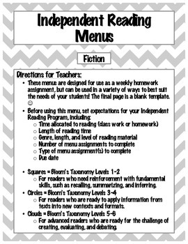 Independent Reading Menus: Differentiated, Engaging Prompt