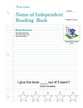 Independent Reading Newspaper Project Template and Rubric