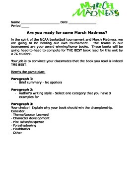 Independent Reading Project:  March Madness