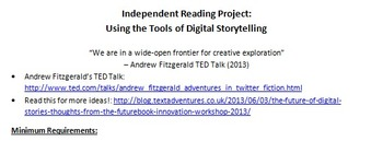 Independent Reading Project & Rubric - Using the Tools of