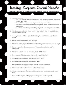 Independent Reading Prompts and Reading Response/Journal Pages