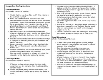 Independent Reading Questions Handout