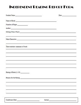 Independent Reading Report Form