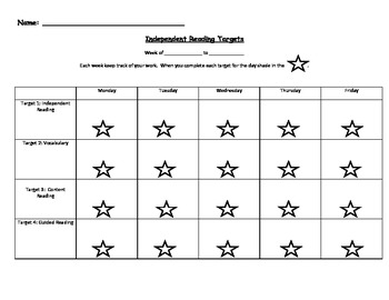Independent Reading Student Tracking Sheet