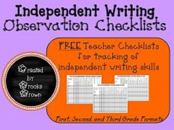 Independent Writing Observation Checklists