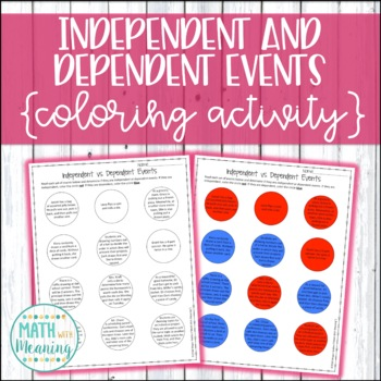Independent vs. Dependent Events Coloring Activity - Compo