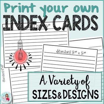 Index Cards Bundle - For Research, Task Cards Template, No