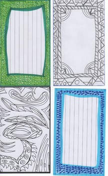 Index card sample set - Pre-Colored borders and for studen