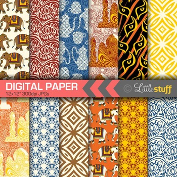 India Digital Papers, Indian Digital Backgrounds, Elephant