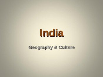 India; Geography & Culture