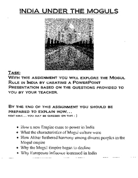India under Mogul Rule Assignment- create powerpoint assignment