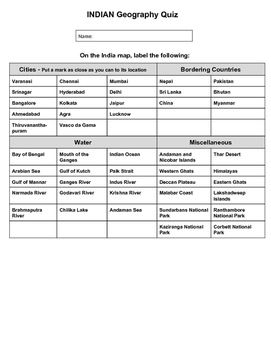 Indian Geography Quiz