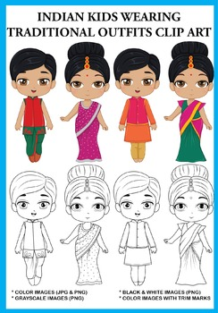Indian Kids wearing Traditional Outfits Clip Art