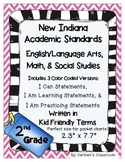 Indiana 2nd Grade I Can Statements Language Arts Math Soci