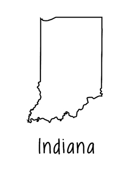 Indiana Map Coloring Page Activity - Lots of Room for Note