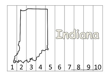 Indiana Number Sequence Puzzle.  Learn the States preschoo