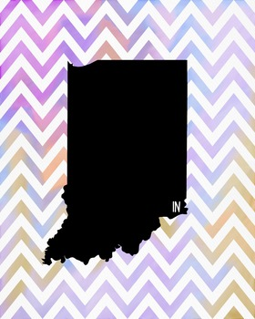 Indiana Chevron State Map Class Decor, Government, Geography
