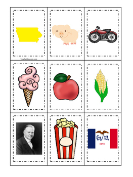 Iowa themed Memory Matching and Word Matching preschool cu